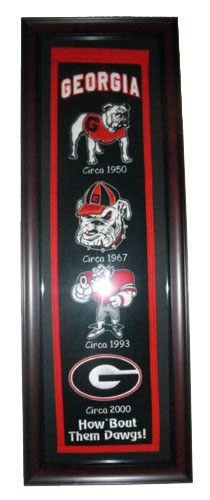 GEORGIA BULLDOGS HERITAGE LOGO EMBROIDERED FRAMED BANNER