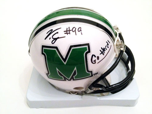 VINNY CURRY SIGNED MARSHALL THUNDERING HERD MINI HELMET NCAA