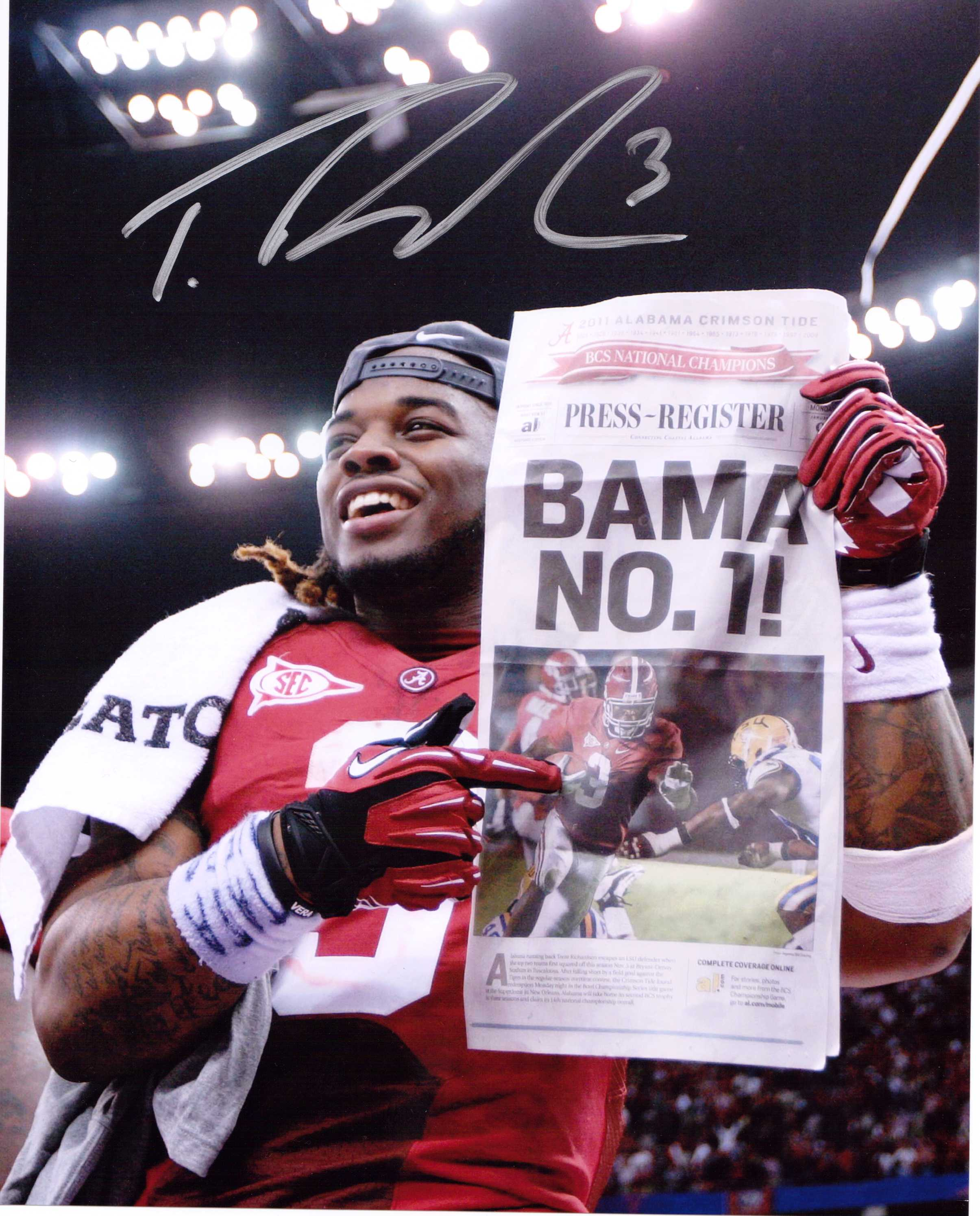 TRENT RICHARDSON SIGNED 8X10 PHOTO NATIONAL CHAMPIONSHIP CELEBRATION