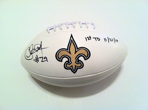 CHRIS IVORY AUTOGRAPHED SAINTS FOOTBALL